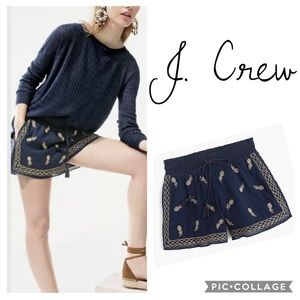 J.Crew Pineapple embroidered short in gauzy sz. L